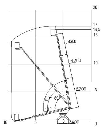 Схема стрелы автовышки